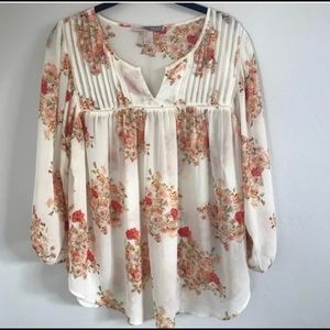 Forever 21 Sheer Floral Peasant Top